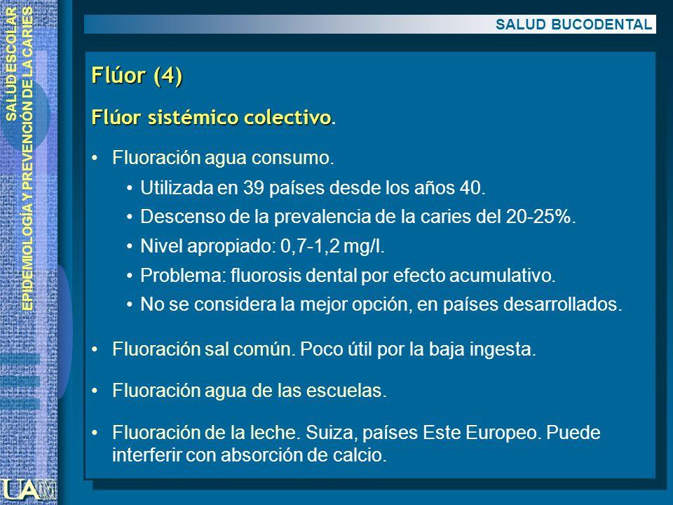 SALUD ESCOLAR EPIDEMIOLOGÍA Y PREVENCIÓN DE LA CARIES Flúor (4) Flúor sistémico colectivo Flúor sistémico colectivo. Fluoración agua consumo. Utilizad