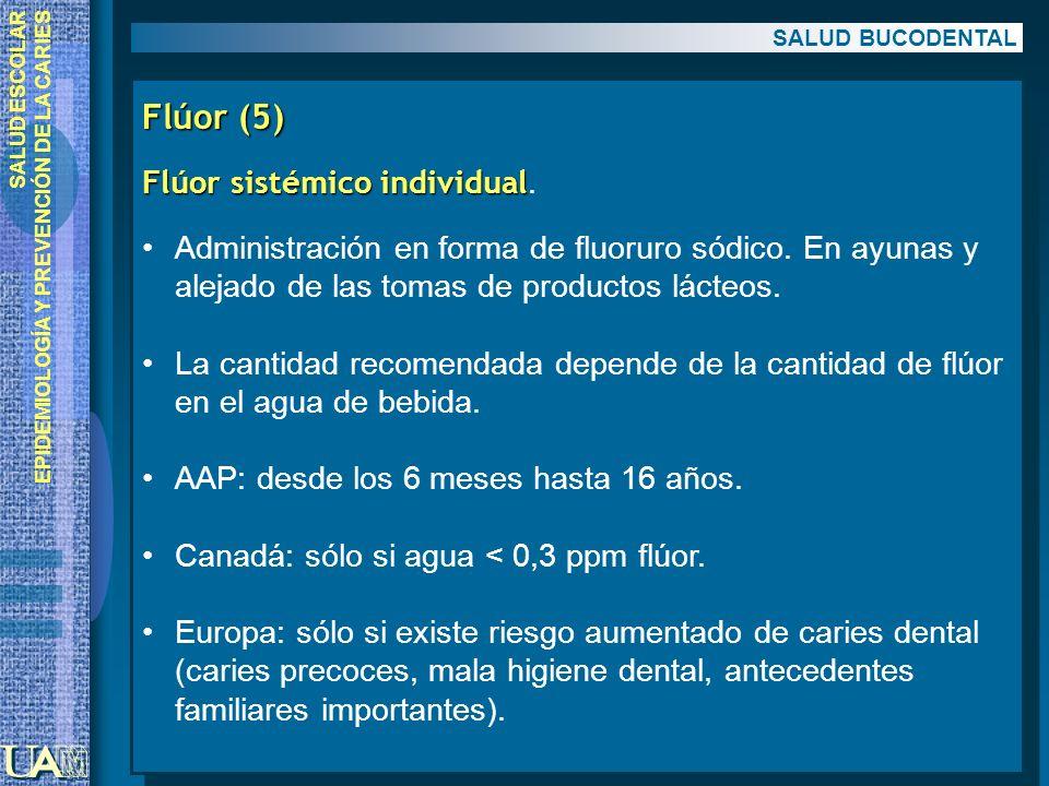 SALUD ESCOLAR EPIDEMIOLOGÍA Y PREVENCIÓN DE LA CARIES Flúor (5) Flúor sistémico individual Flúor sistémico individual. Administración en forma de fluo