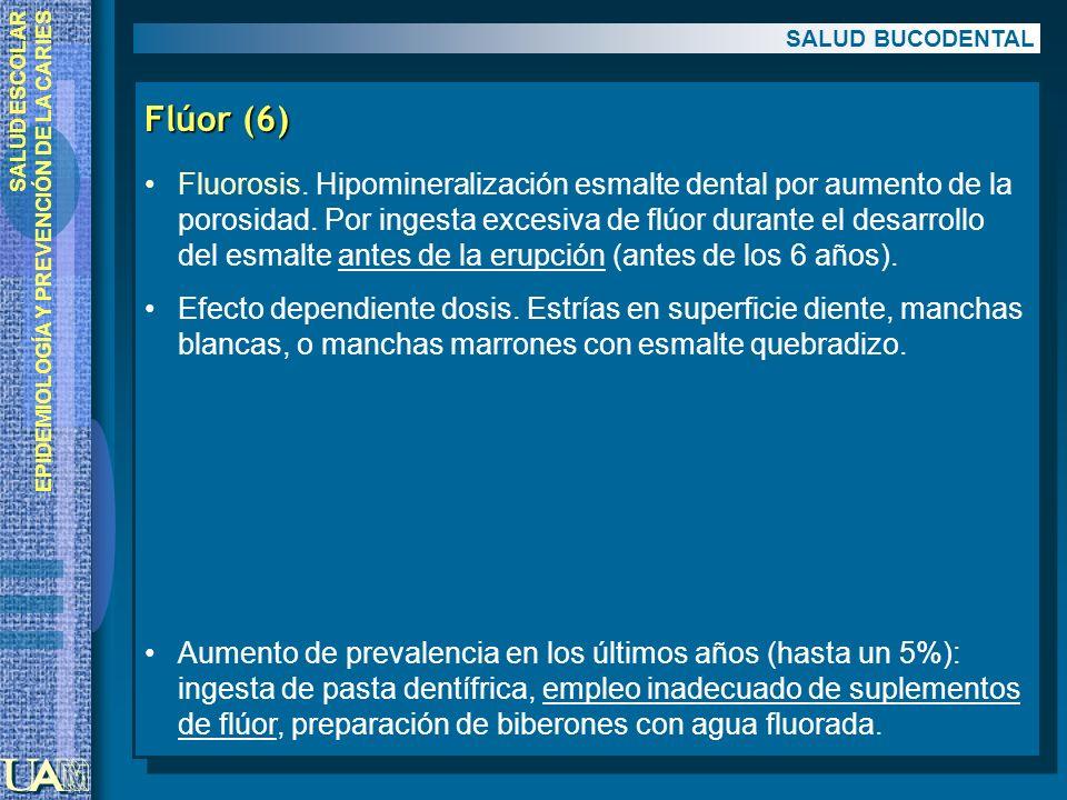 SALUD ESCOLAR EPIDEMIOLOGÍA Y PREVENCIÓN DE LA CARIES Flúor (6) Fluorosis. Hipomineralización esmalte dental por aumento de la porosidad. Por ingesta