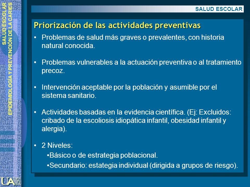 EPIDEMIOLOGÍA Y PREVENCIÓN DE LA CARIES Priorización de las actividades preventivas Problemas de salud más graves o prevalentes, con historia natural