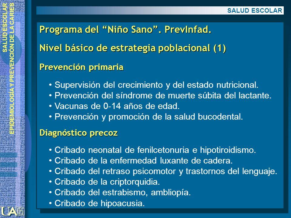 EPIDEMIOLOGÍA Y PREVENCIÓN DE LA CARIES Programa del Niño Sano. PrevInfad. Nivel básico de estrategia poblacional (1) Prevención primaria Supervisión