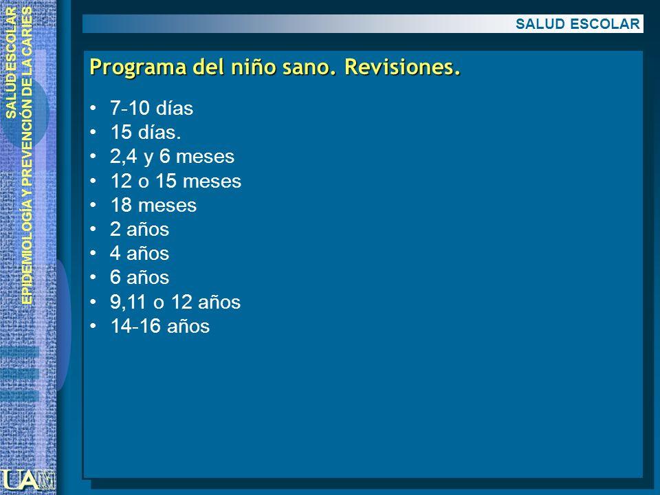 EPIDEMIOLOGÍA Y PREVENCIÓN DE LA CARIES Programa del niño sano. Revisiones. 7-10 días 15 días. 2,4 y 6 meses 12 o 15 meses 18 meses 2 años 4 años 6 añ