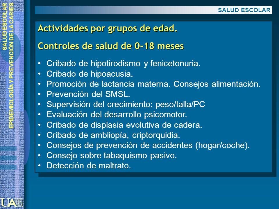 EPIDEMIOLOGÍA Y PREVENCIÓN DE LA CARIES Actividades por grupos de edad. Controles de salud de 0-18 meses Cribado de hipotirodismo y fenicetonuria. Cri
