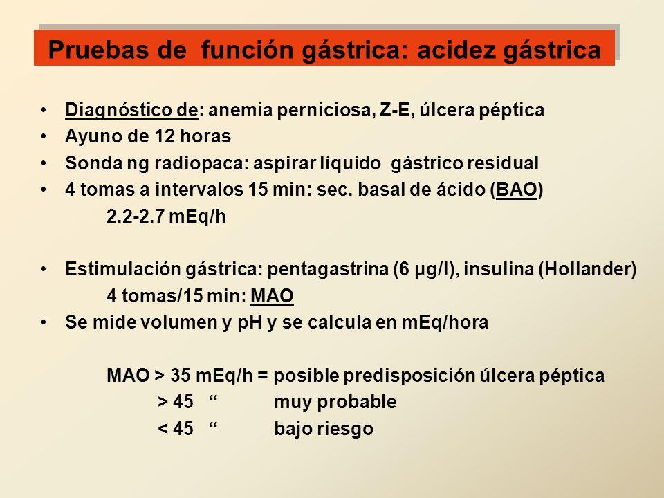 Pruebas de función gástrica: acidez gástrica Diagnóstico de: anemia perniciosa, Z-E, úlcera péptica Ayuno de 12 horas Sonda ng radiopaca: aspirar líqu
