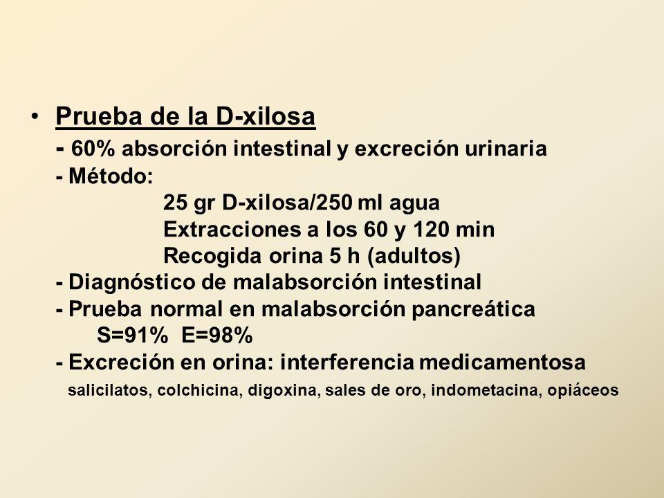 Prueba de la D-xilosa - 60% absorción intestinal y excreción urinaria - Método: 25 gr D-xilosa/250 ml agua Extracciones a los 60 y 120 min Recogida or
