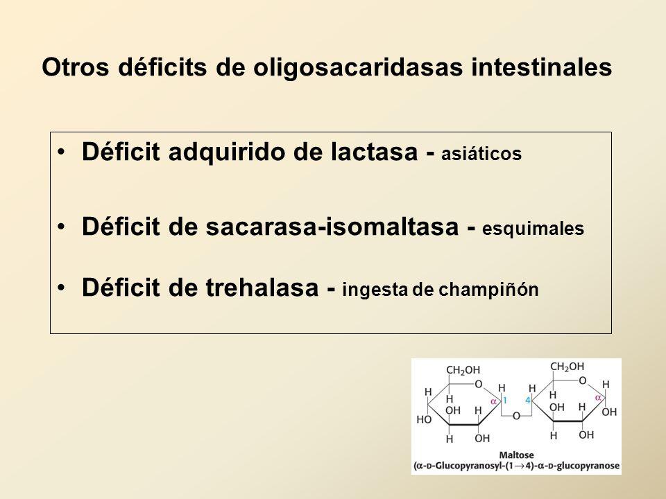 Otros déficits de oligosacaridasas intestinales Déficit adquirido de lactasa - asiáticos Déficit de sacarasa-isomaltasa - esquimales Déficit de trehal