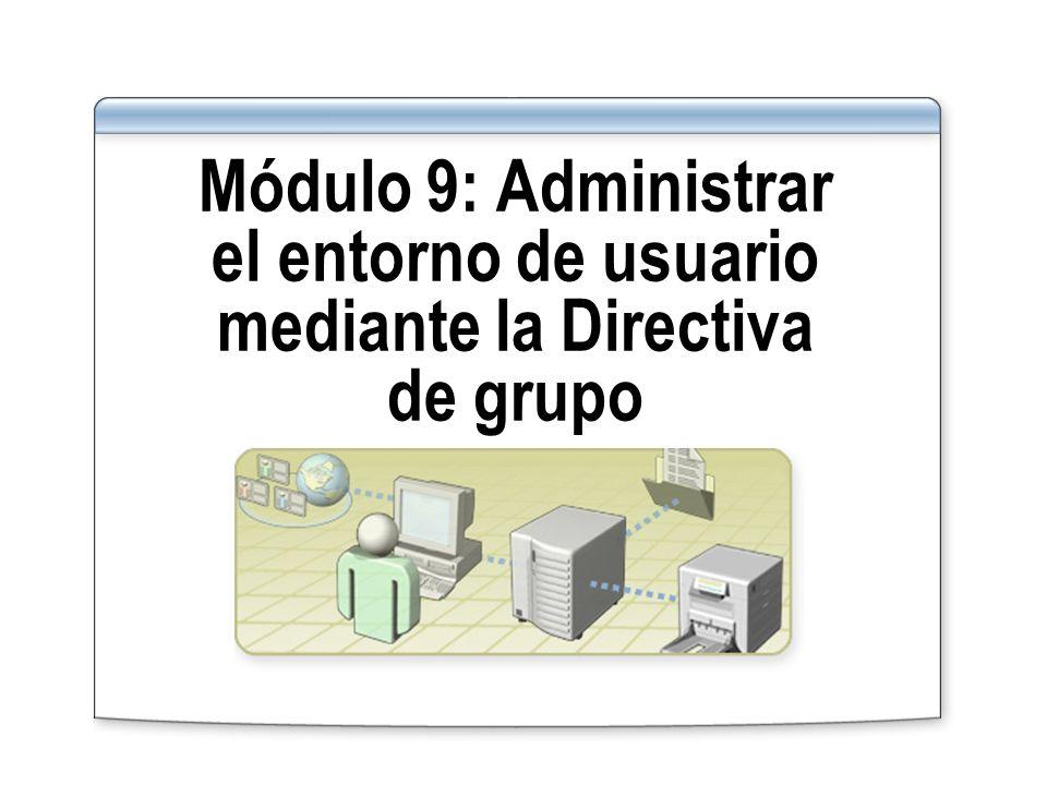 Introducción Configurar la Directiva de grupo Asignar secuencias de comandos a la Directiva de grupo Configurar la redirección de carpetas Determinar los objetos de Directiva de grupo aplicados