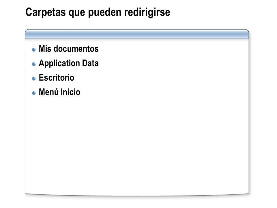Carpetas que pueden redirigirse Mis documentos Application Data Escritorio Menú Inicio