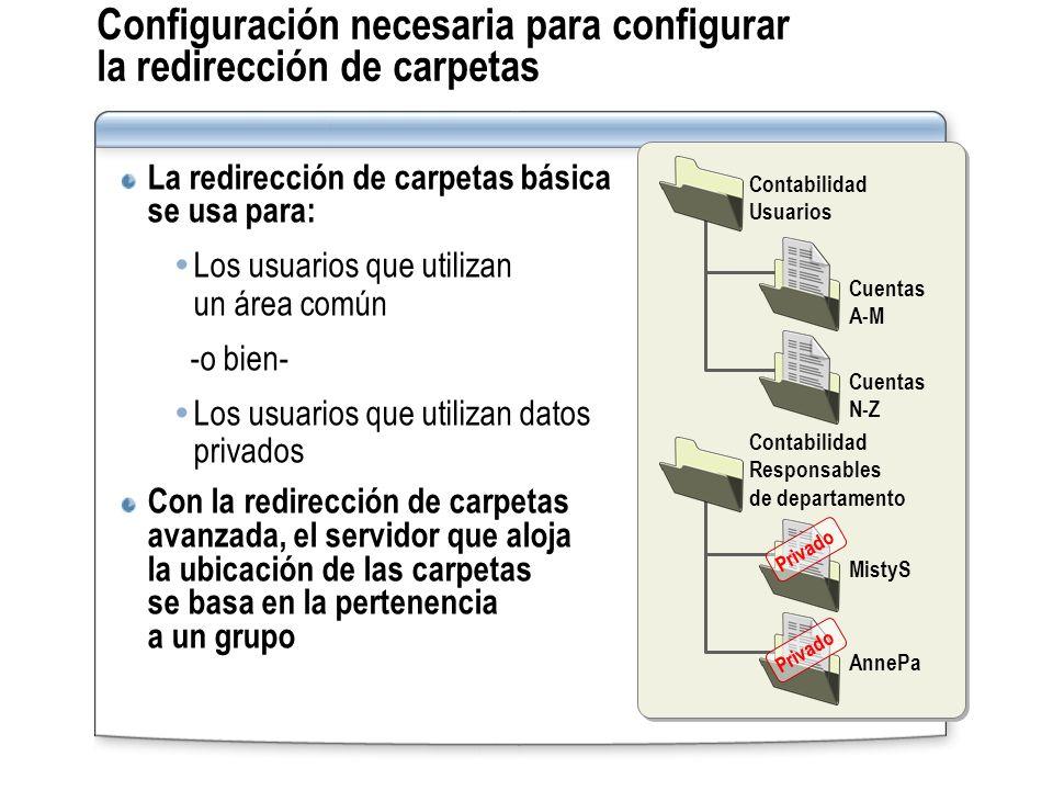 Configuración necesaria para configurar la redirección de carpetas La redirección de carpetas básica se usa para: Los usuarios que utilizan un área co