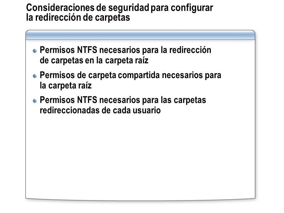 Consideraciones de seguridad para configurar la redirección de carpetas Permisos NTFS necesarios para la redirección de carpetas en la carpeta raíz Pe