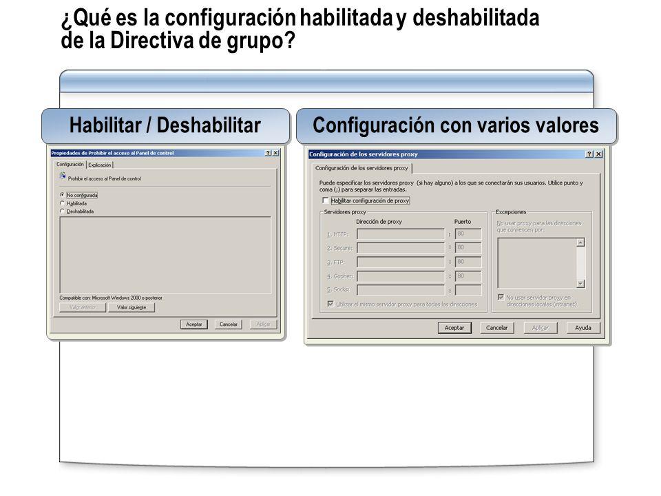 ¿Qué es la configuración habilitada y deshabilitada de la Directiva de grupo? Habilitar / Deshabilitar Configuración con varios valores