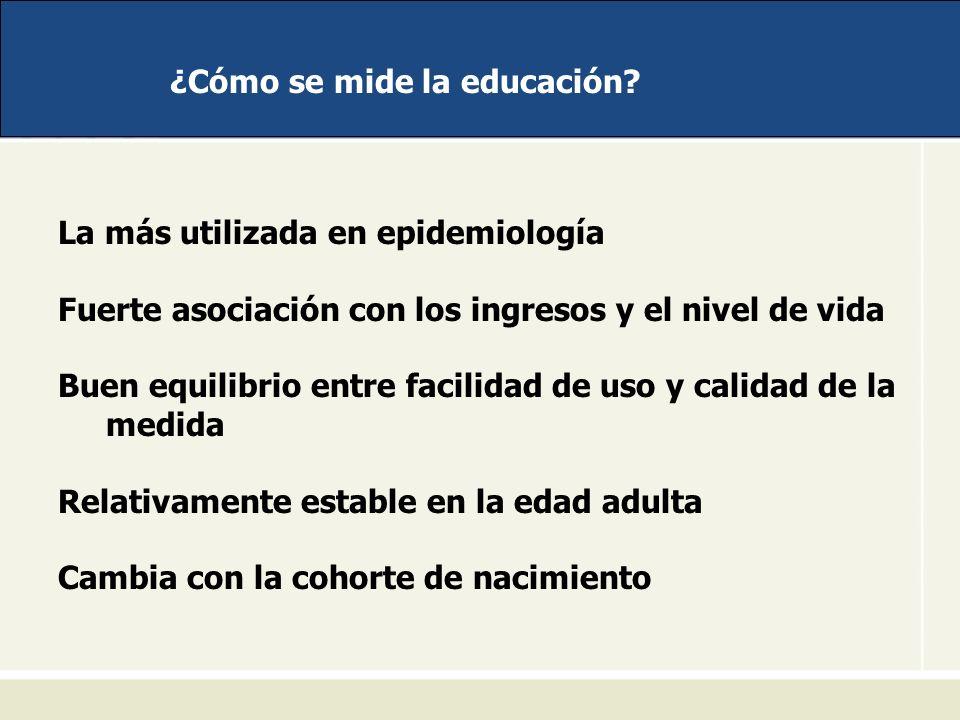 ¿Cómo se mide la educación? La más utilizada en epidemiología Fuerte asociación con los ingresos y el nivel de vida Buen equilibrio entre facilidad de