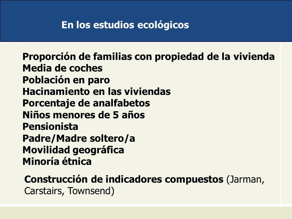 En los estudios ecológicos Proporción de familias con propiedad de la vivienda Media de coches Población en paro Hacinamiento en las viviendas Porcent
