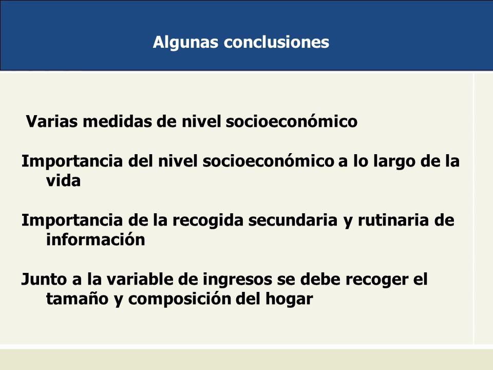 Algunas conclusiones Varias medidas de nivel socioeconómico Importancia del nivel socioeconómico a lo largo de la vida Importancia de la recogida secu