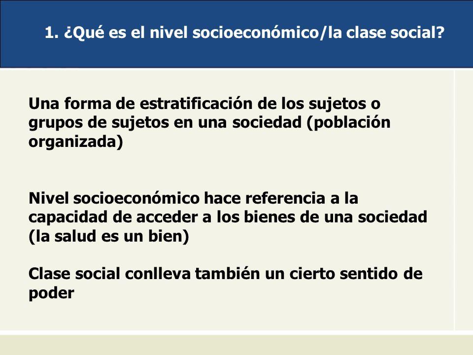 1. ¿Qué es el nivel socioeconómico/la clase social? Una forma de estratificación de los sujetos o grupos de sujetos en una sociedad (población organiz
