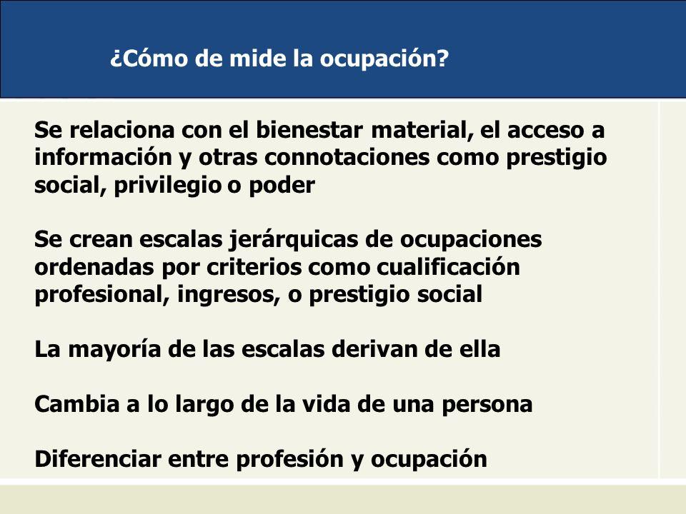 ¿Cómo de mide la ocupación? Se relaciona con el bienestar material, el acceso a información y otras connotaciones como prestigio social, privilegio o
