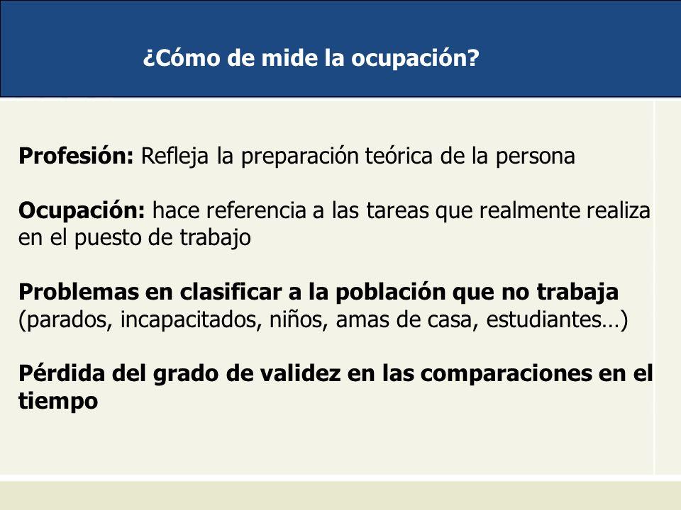 ¿Cómo de mide la ocupación? Profesión: Refleja la preparación teórica de la persona Ocupación: hace referencia a las tareas que realmente realiza en e