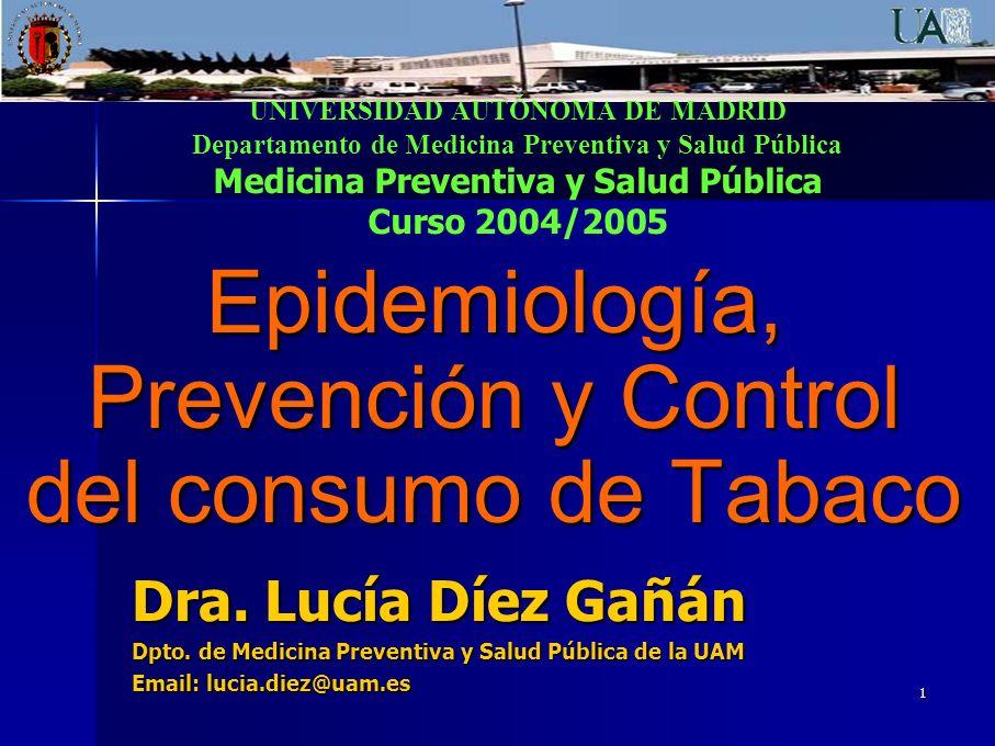 32 PREVENCIÓN Y CONTROL DEL TABAQUISMO Hay que considerar todos los aspectos (Think globally, act locally) 4.