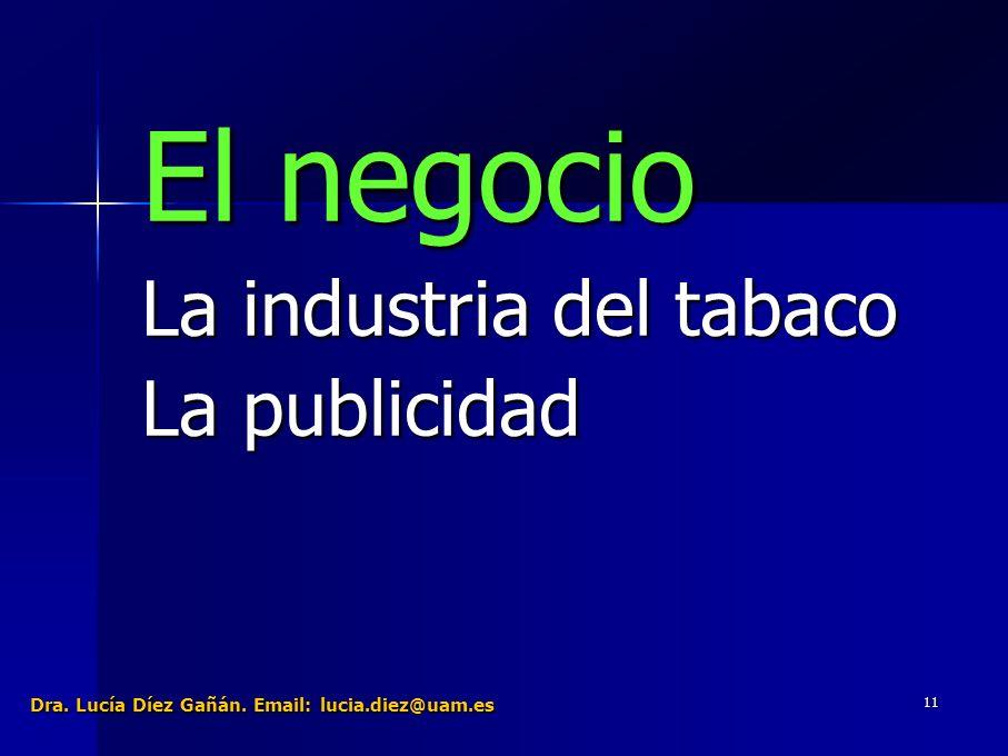 11 El negocio La industria del tabaco La publicidad Dra. Lucía Díez Gañán. Email: lucia.diez@uam.es
