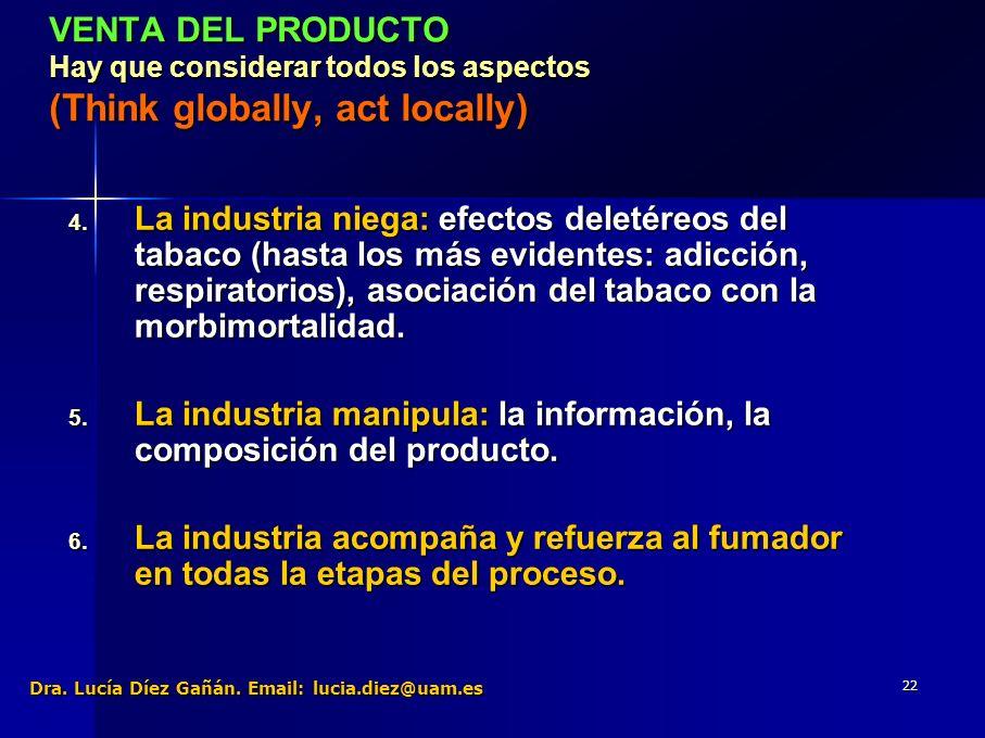 22 VENTA DEL PRODUCTO Hay que considerar todos los aspectos (Think globally, act locally) 4.