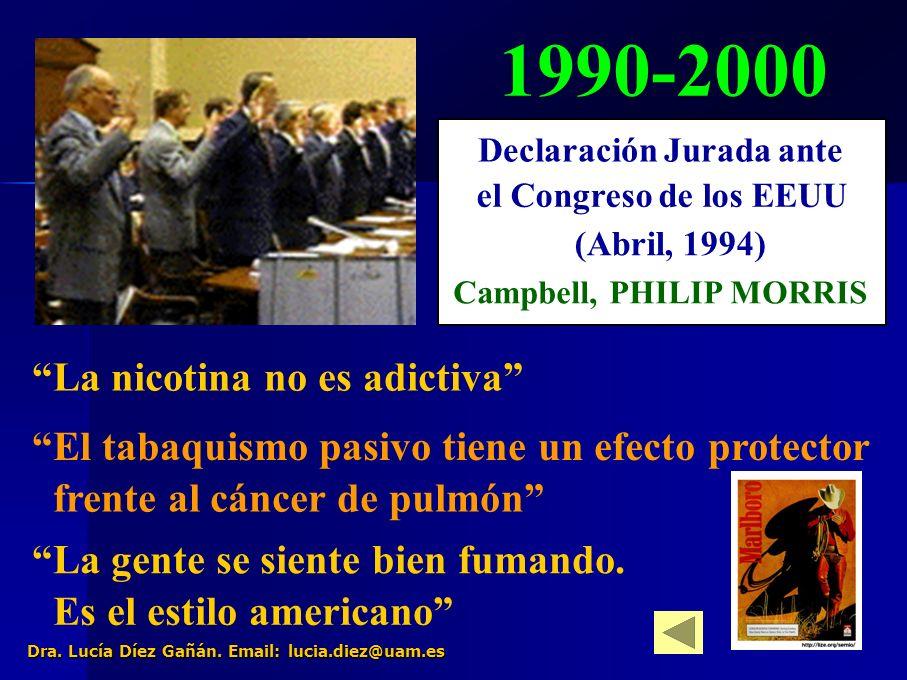 24 1990-2000 La nicotina no es adictiva El tabaquismo pasivo tiene un efecto protector frente al cáncer de pulmón La gente se siente bien fumando.