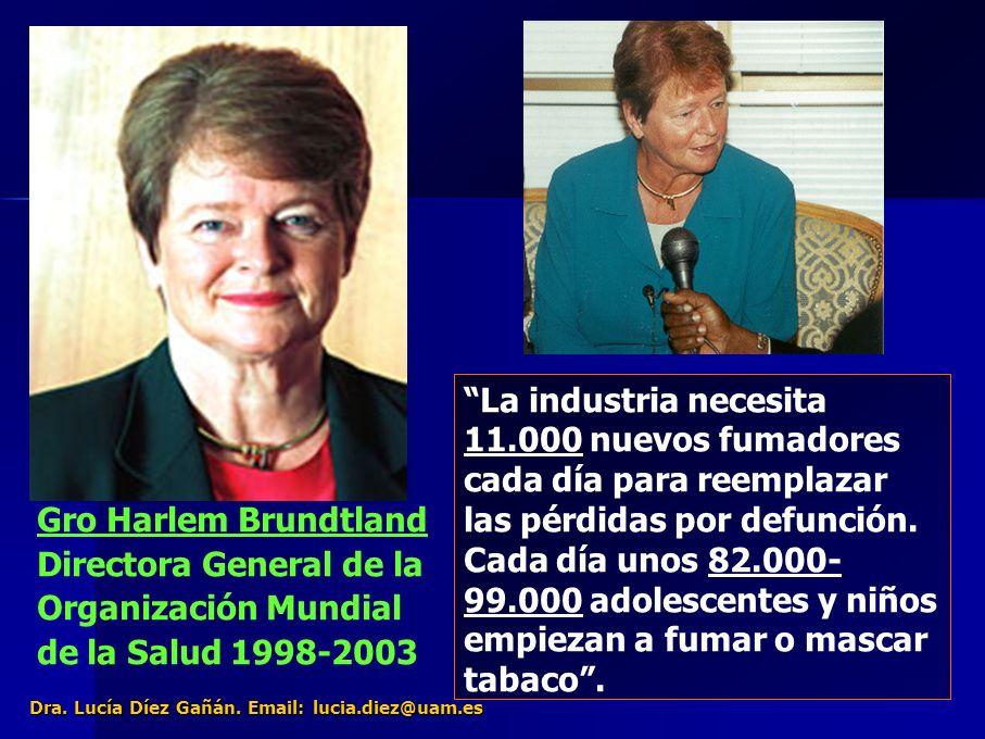 27 Gro Harlem Brundtland Directora General de la Organización Mundial de la Salud 1998-2003 El Tabaquismo es una enfermedad que se transmite por la publicidad y el marketing Para atraer a los nuevos fumadores, las compañías tabacaleras venden el tabaco como un estilo de vida, sano, saludable.