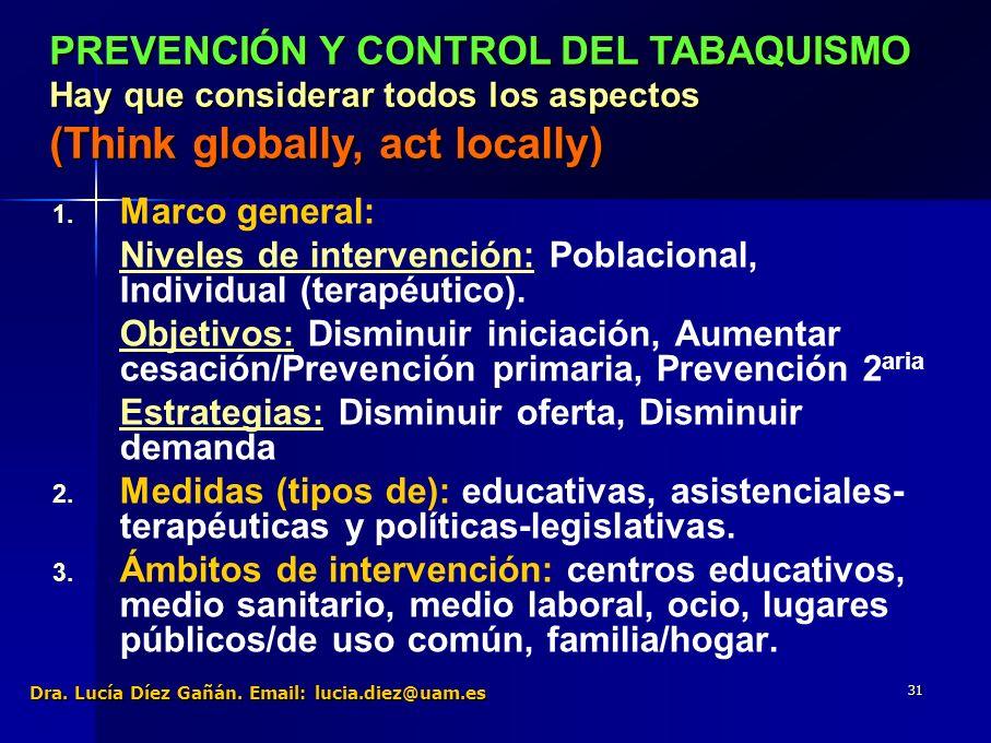 31 1. 1. Marco general: Niveles de intervención: Poblacional, Individual (terapéutico).