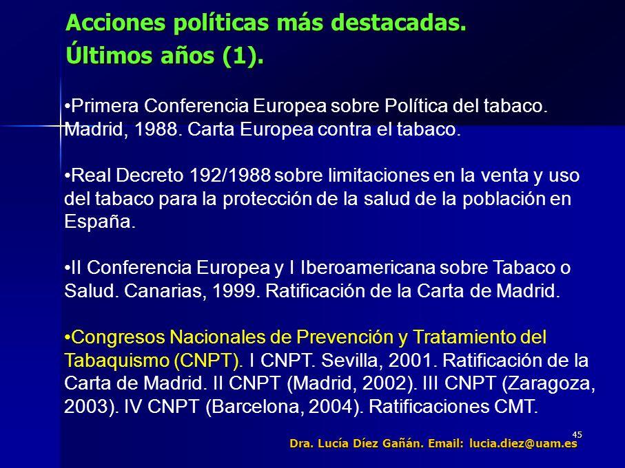 45 Acciones políticas más destacadas. Últimos años (1).