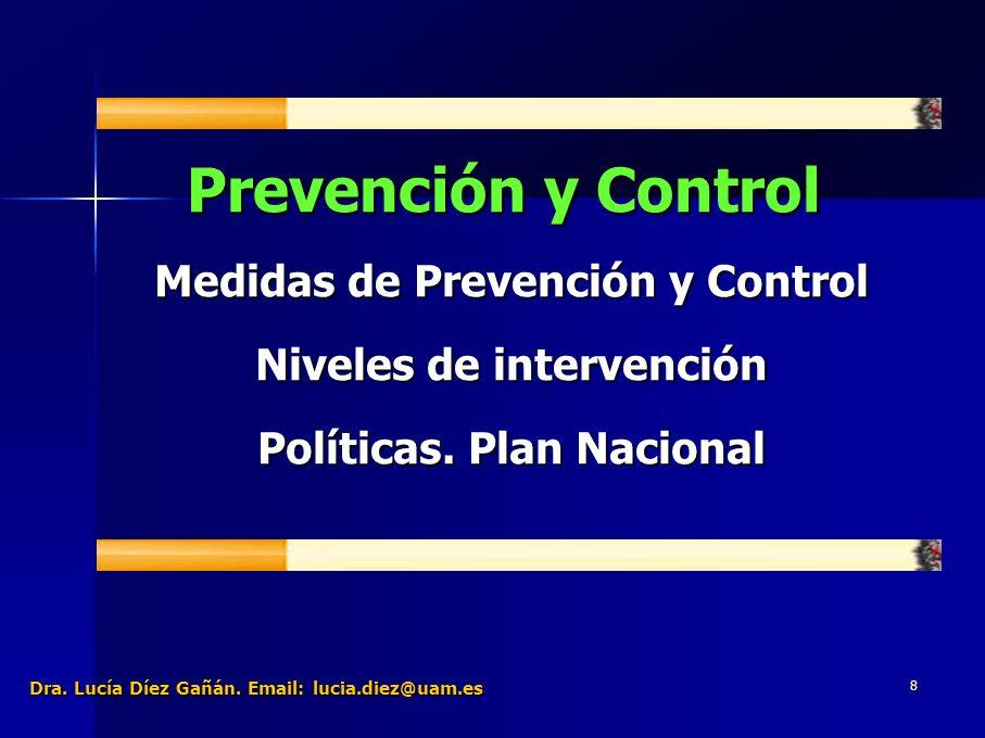 29 Prevención y Control Medidas de Prevención y Control Niveles de intervención Políticas.