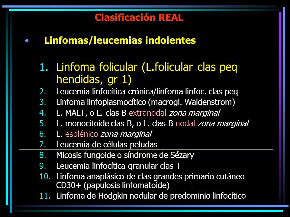 Clasificación REAL Linfomas/leucemias indolentes 1.Linfoma folicular (L.folicular clas peq hendidas, gr 1) 2.Leucemia linfocítica crónica/linfoma linf