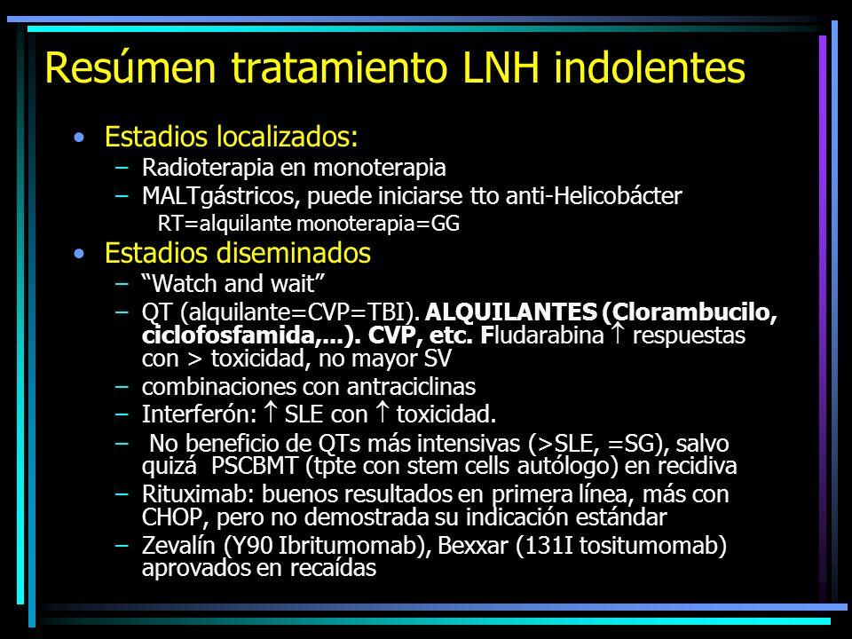 Resúmen tratamiento LNH indolentes diseminados Indicaciones tratamiento: –Sintomáticos (incl. Síntomas B) –Compromiso órgano o función (incl. derrames