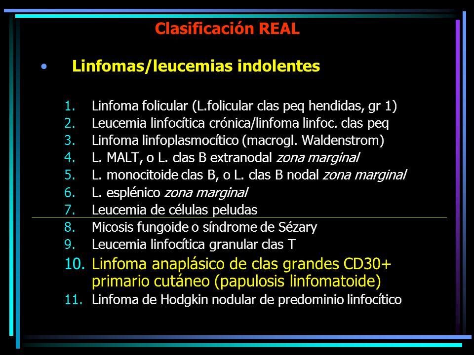 Clasificación REAL Linfomas/leucemias indolentes Linfoma folicular (L.folicular clas peq hendidas, gr 1) Leucemia linfocítica crónica/linfoma linfoc.