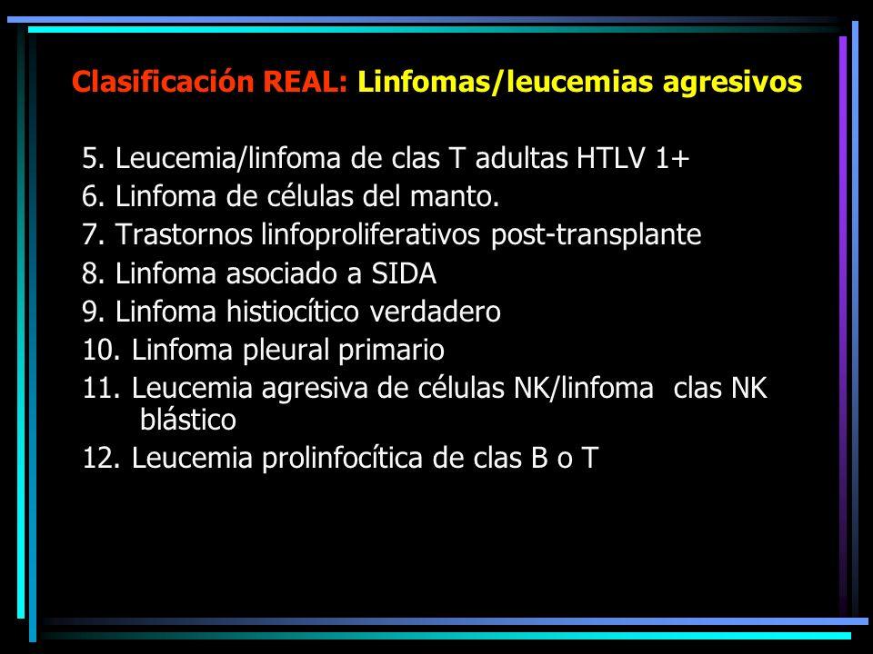 Clasificación REAL: Linfomas/leucemias agresivos 1.Linfomas difusos de células grandes (LDCG) 1.Linfoma B mediastínico de CG 2.Linfoma folicular de CG