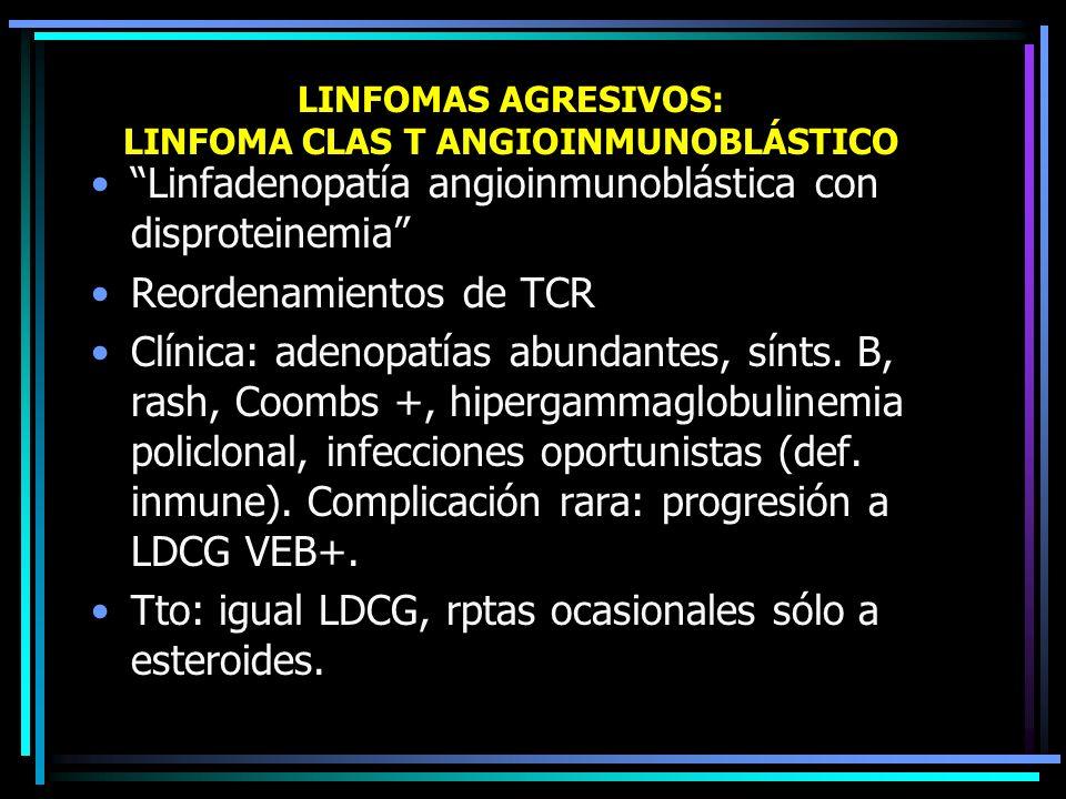 LINFOMAS AGRESIVOS: LEUCEMIA/LINFOMA CLAS T DEL ADULTO Causa: infección HTLV-I rasgos típicos: –hipercalcemia –blastos circulantes –afectación cutánea