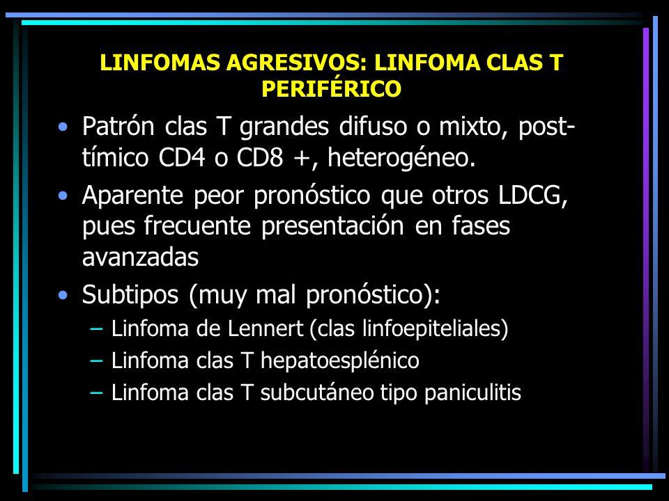LINFOMAS AGRESIVOS: LINFOMA CLAS B MEDIASTÍNICO PRIMITIVO Caracterizado por marcada fibrosis, en mujeres jóvenes, masa en mediastino anterior, SVCS Co
