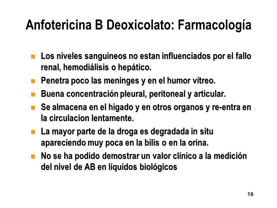 16 Anfotericina B Deoxicolato: Farmacología n Los niveles sanguineos no estan influenciados por el fallo renal, hemodiálisis o hepático. n Penetra poc