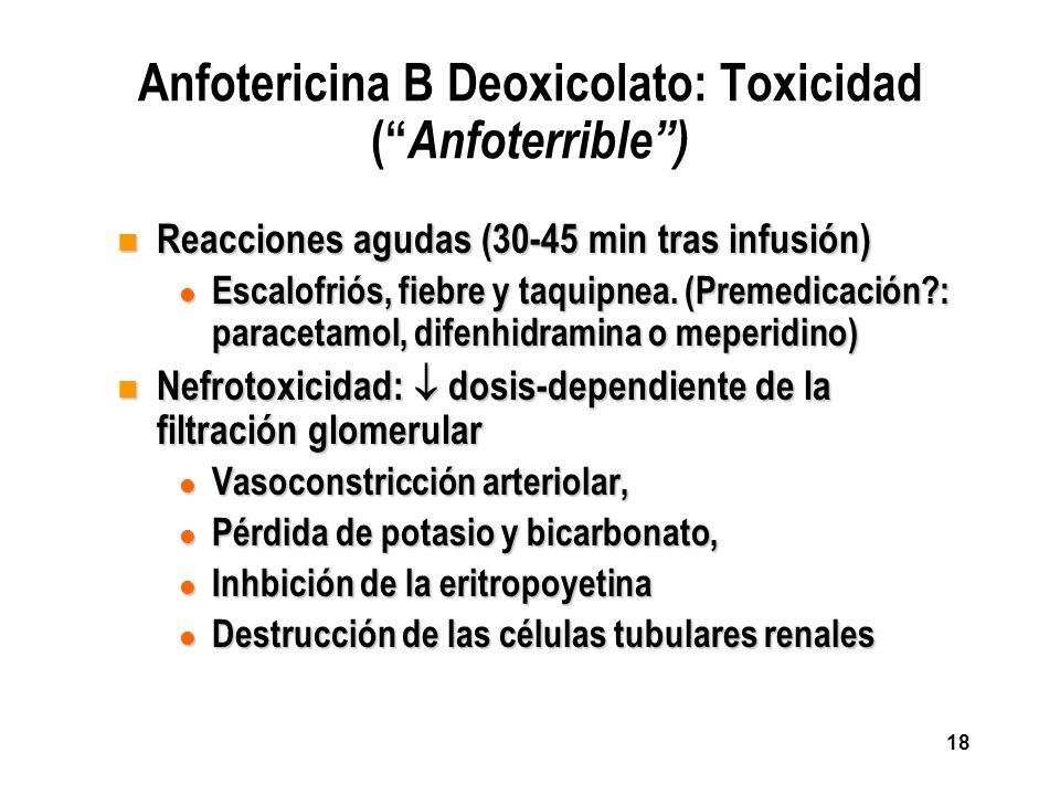 18 Anfotericina B Deoxicolato: Toxicidad ( Anfoterrible) n Reacciones agudas (30-45 min tras infusión) l Escalofriós, fiebre y taquipnea. (Premedicaci