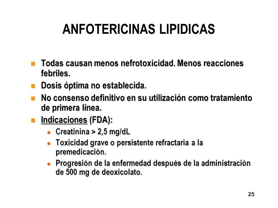 25 ANFOTERICINAS LIPIDICAS n Todas causan menos nefrotoxicidad. Menos reacciones febriles. n Dosis óptima no establecida. n No consenso definitivo en
