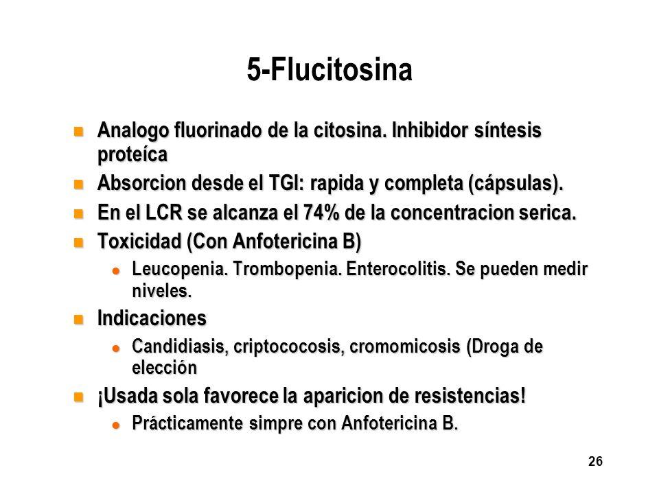 26 5-Flucitosina n Analogo fluorinado de la citosina. Inhibidor síntesis proteíca n Absorcion desde el TGI: rapida y completa (cápsulas). n En el LCR