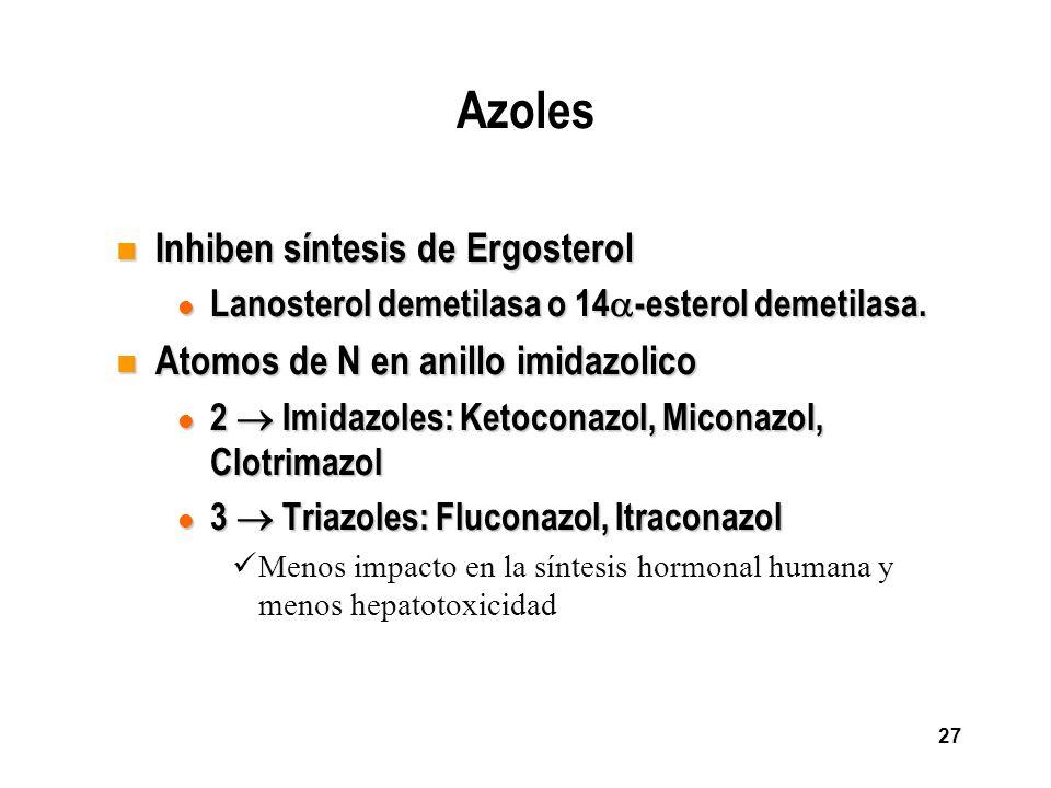 27 Azoles n Inhiben síntesis de Ergosterol l Lanosterol demetilasa o 14 -esterol demetilasa. n Atomos de N en anillo imidazolico l 2 Imidazoles: Ketoc