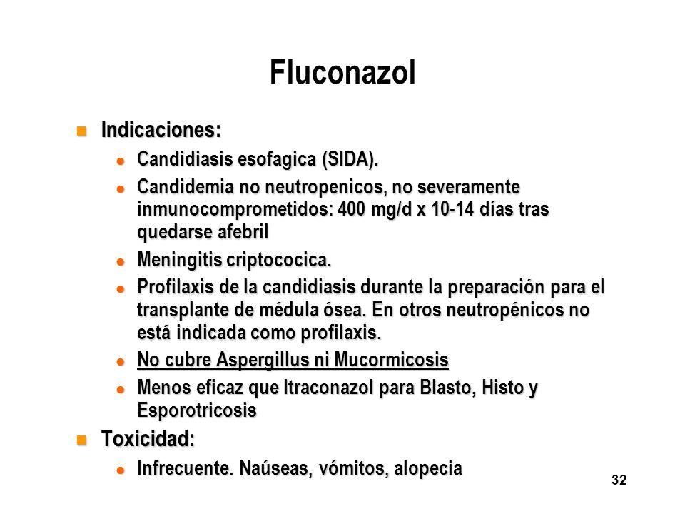 32 Fluconazol n Indicaciones: l Candidiasis esofagica (SIDA). l Candidemia no neutropenicos, no severamente inmunocomprometidos: 400 mg/d x 10-14 días
