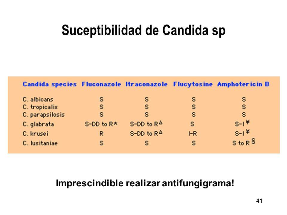 41 Suceptibilidad de Candida sp Imprescindible realizar antifungigrama!