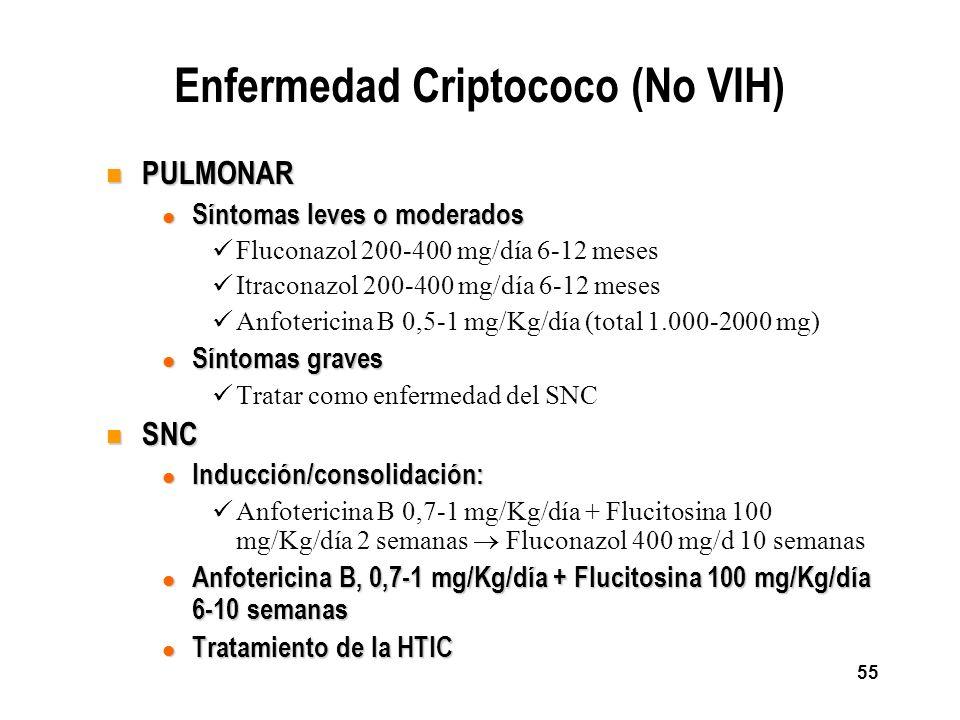 55 Enfermedad Criptococo (No VIH) n PULMONAR l Síntomas leves o moderados Fluconazol 200-400 mg/día 6-12 meses Itraconazol 200-400 mg/día 6-12 meses A