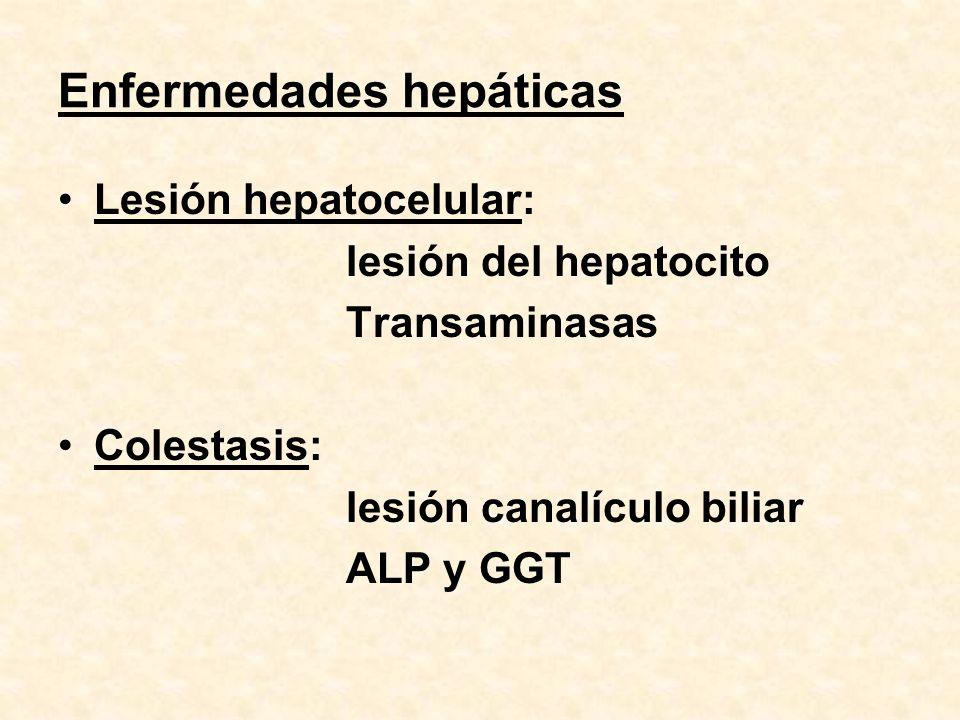 Enfermedades hepáticas Lesión hepatocelular: lesión del hepatocito Transaminasas Colestasis: lesión canalículo biliar ALP y GGT