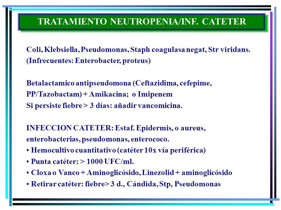 TRATAMIENTO NEUTROPENIA/INF. CATETER Coli, Klebsiella, Pseudomonas, Staph coagulasa negat, Str viridans. (Infrecuentes: Enterobacter, proteus) Betalac