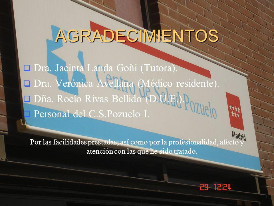 AGRADECIMIENTOS Dra. Jacinta Landa Goñi (Tutora). Dra. Verónica Avellana (Médico residente). Dña. Rocío Rivas Bellido (D.U.E.). Personal del C.S.Pozue
