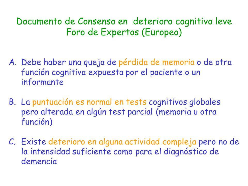 Documento de Consenso en deterioro cognitivo leve Foro de Expertos (Europeo) A.Debe haber una queja de pérdida de memoria o de otra función cognitiva
