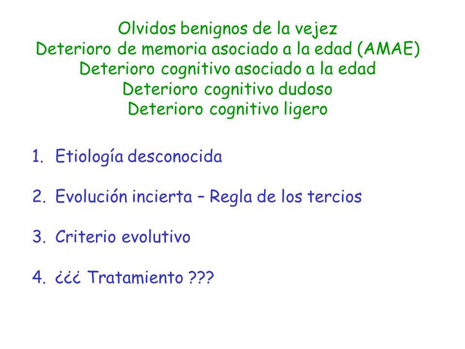 Olvidos benignos de la vejez Deterioro de memoria asociado a la edad (AMAE) Deterioro cognitivo asociado a la edad Deterioro cognitivo dudoso Deterior