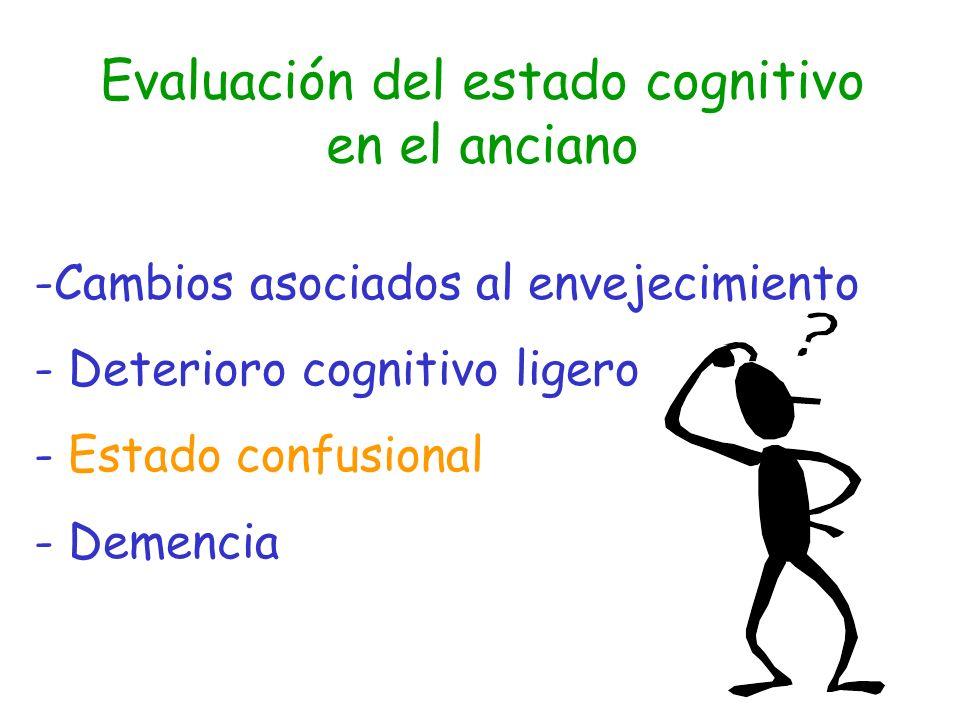 -Cambios asociados al envejecimiento - Deterioro cognitivo ligero - Estado confusional - Demencia Evaluación del estado cognitivo en el anciano
