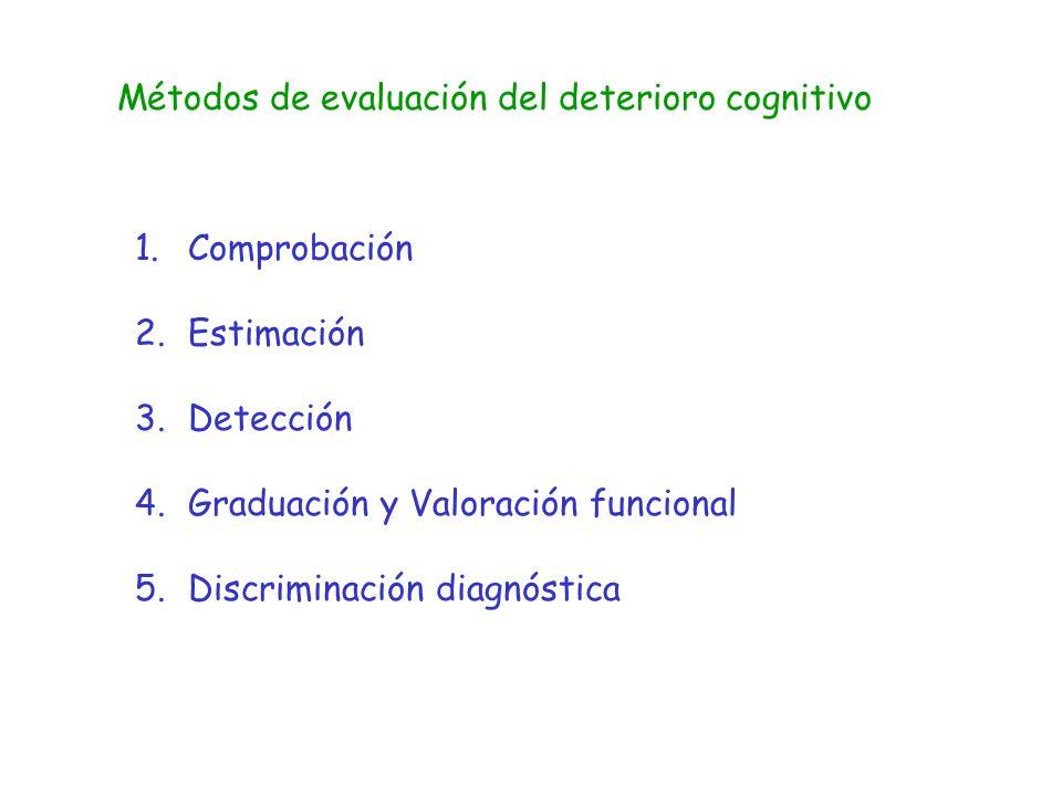 Métodos de evaluación del deterioro cognitivo 1.Comprobación 2.Estimación 3.Detección 4.Graduación y Valoración funcional 5.Discriminación diagnóstica